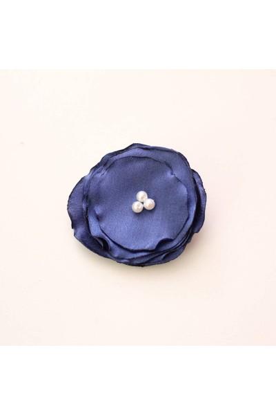 Agrafa floricica textil bleumarin