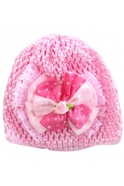 turban fete fantezie roz cyclame fundita