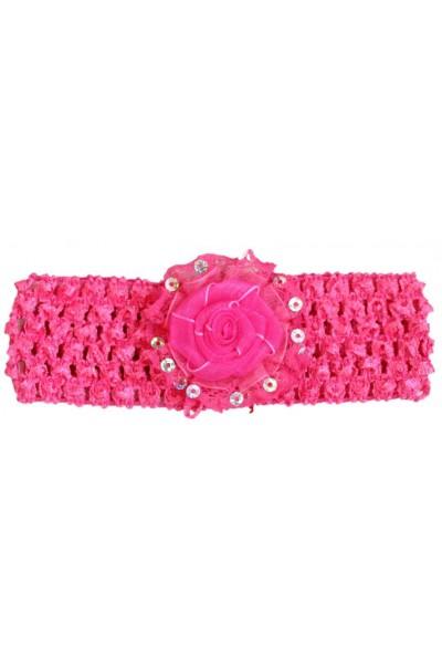 Bentita elastica roz cyclame fundita paiete