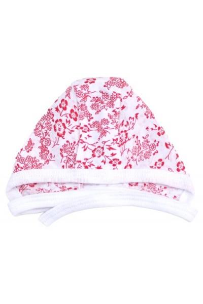 caciula interior bumbac subtire rosie floricele