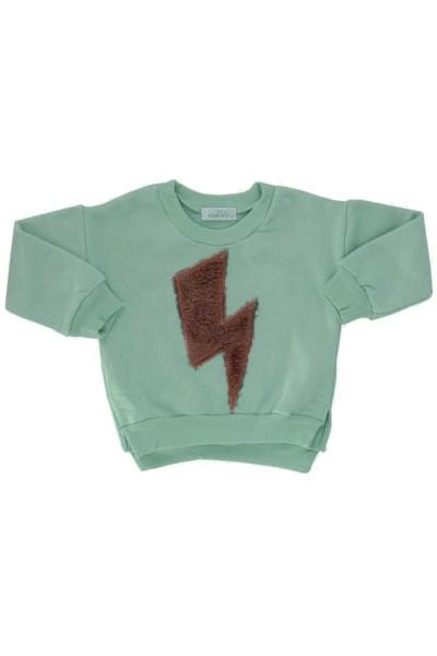 bluza copii bumbac verde fulger