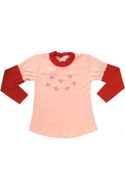 bluza bumbac fete roz piersica