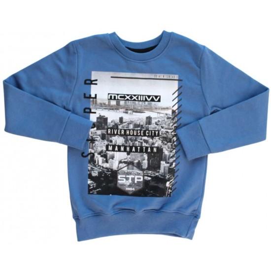 Bluza copii albastra Manhattan