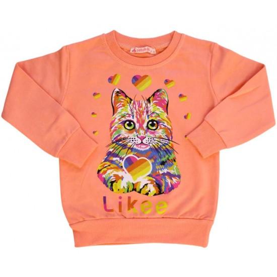 Bluza fetite roz pisicuta