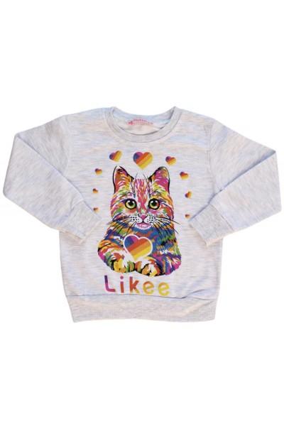 Bluza fetite gri pisicuta