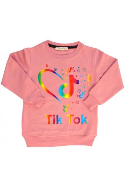 Bluza bumbac fete roz somon Tik-Tok