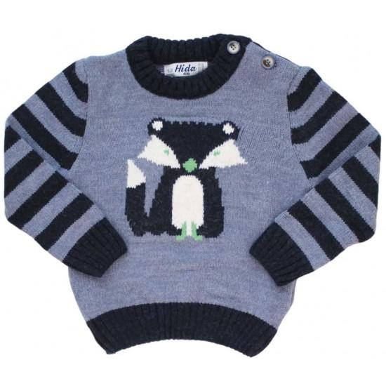 pulover copii gri bleumarin