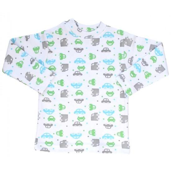 bluza bebe bumbac masini verzi