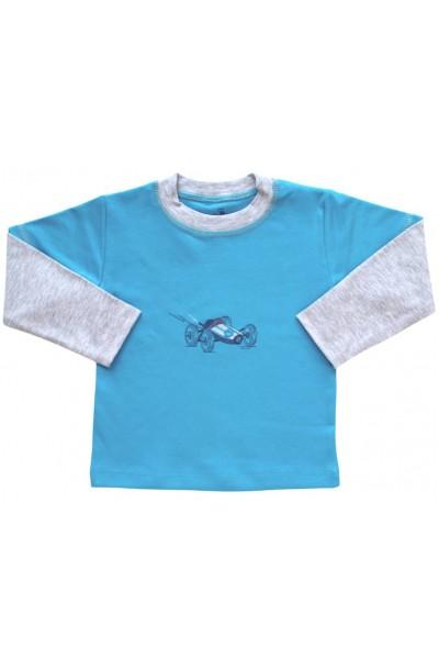 bluza bumbac copii turcoaz maneci gri