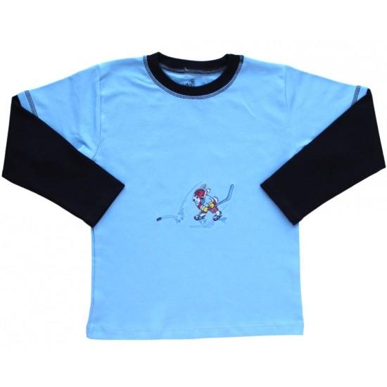 bluza bumbac copii turcoaz hockey
