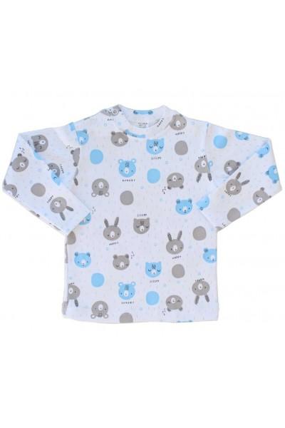 bluza bebe bumbac azuga cap urs bleu-gri