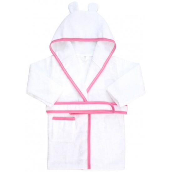 halat de baie copii alb margini roz