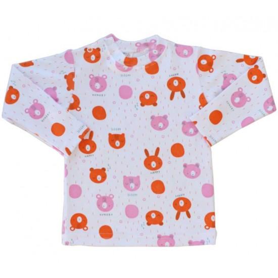 bluza bebe bumbac azuga cap urs orange-roz