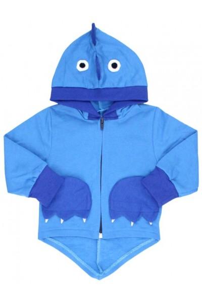 hanorac bumbac copii albastru buzunare albastre dino