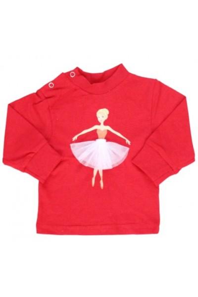 bluza bebe bumbac rosie balerina