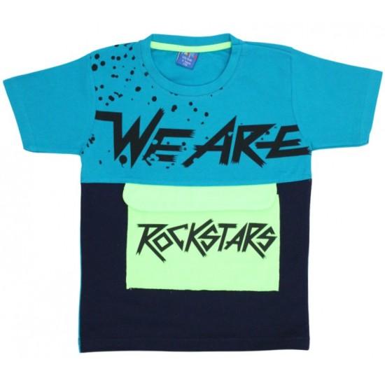 tricou copii rockstars turcoaz