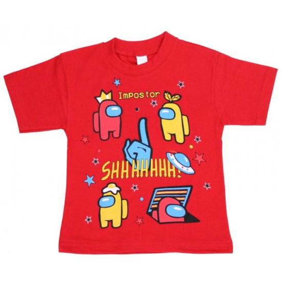 tricou copii among us rosu