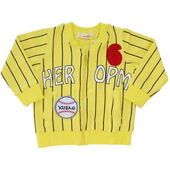 jacheta baseball copii bumbac galben