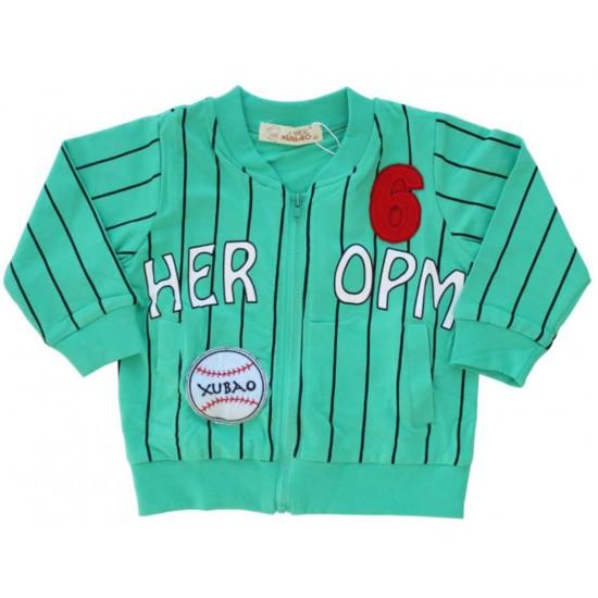 jacheta baseball copii bumbac verde