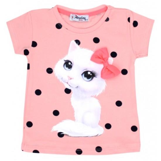 tricou bumbac piersica pisicuta