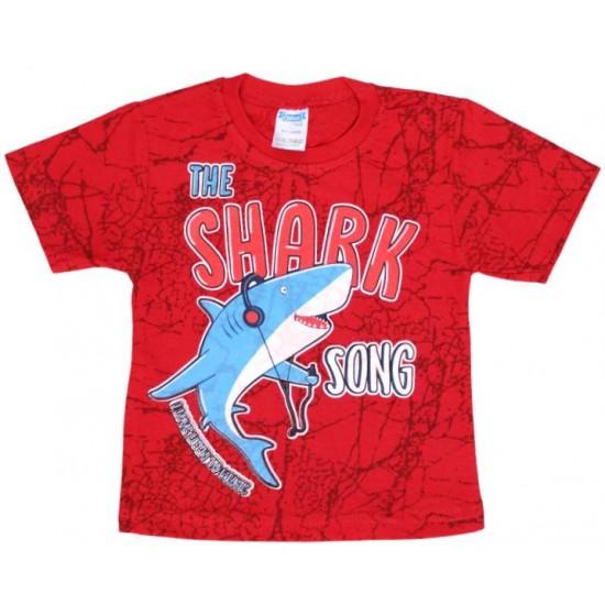 tricou bumbac rosu shark