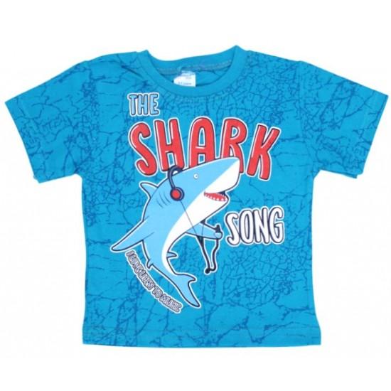 tricou bumbac turcoaz shark