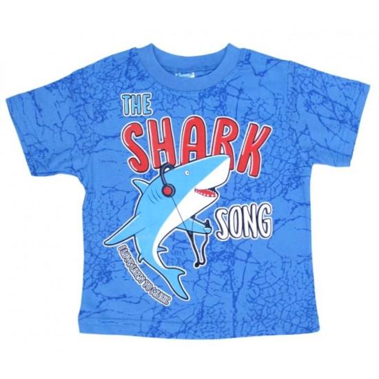 tricou bumbac albastru shark