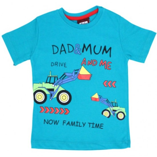 tricou bumbac turcoaz family time