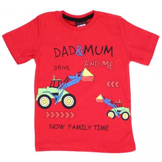 tricou bumbac rosu family time