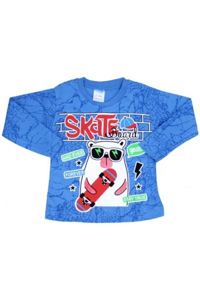 bluza bumbac albastra skateboard