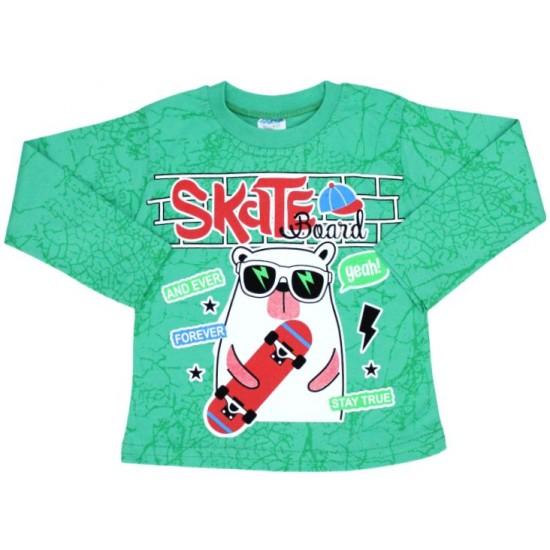 bluza bumbac verde skateboard
