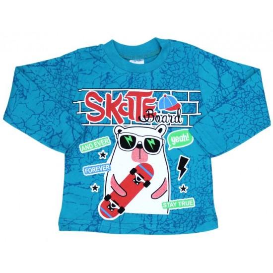 bluza bumbac turcoaz skateboard