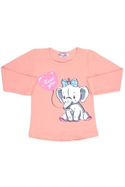bluza bumbac piersica elefant