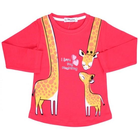 bluza bumbac rosie girafa