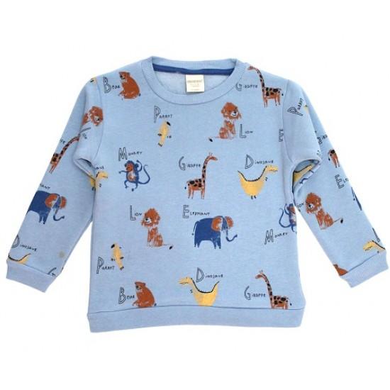 Bluza baieti vatuita bleu zoo