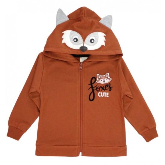 Hanorac copii cute fox caramiziu
