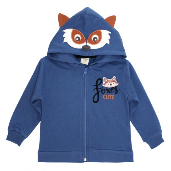 Hanorac copii cute fox albastru