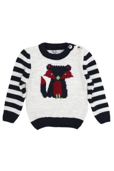 pulover copii gri deschis si bleumarin