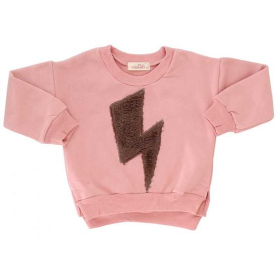 bluza copii bumbac roz fulger