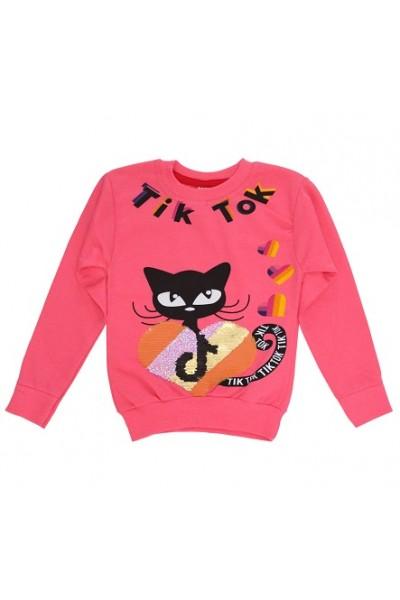 Bluza fete bumbac roz pisica tik tok