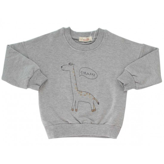 bluza copii bumbac gri girafa