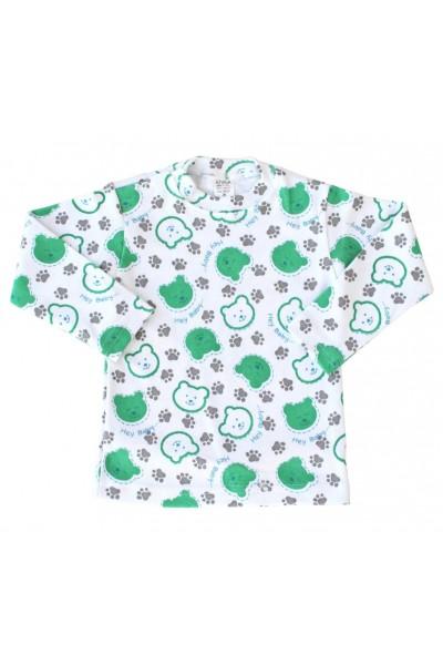 bluza bebe bumbac cap urs verde
