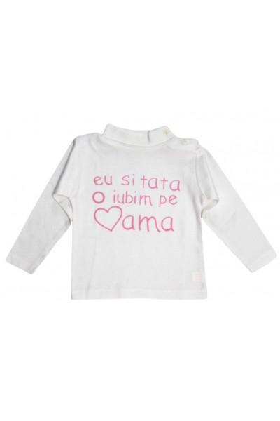 Bluza copii bumbac mesaj roz eu si tata o iubim pe mama