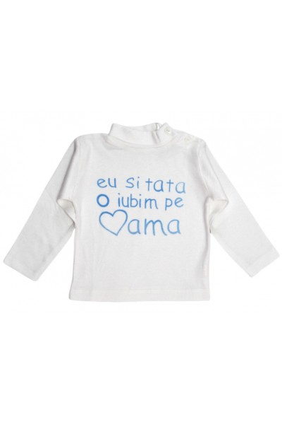 Bluza copii bumbac mesaj bleu eu si tata o iubim pe mama