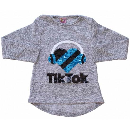 bluza fete gri paiete TikTok