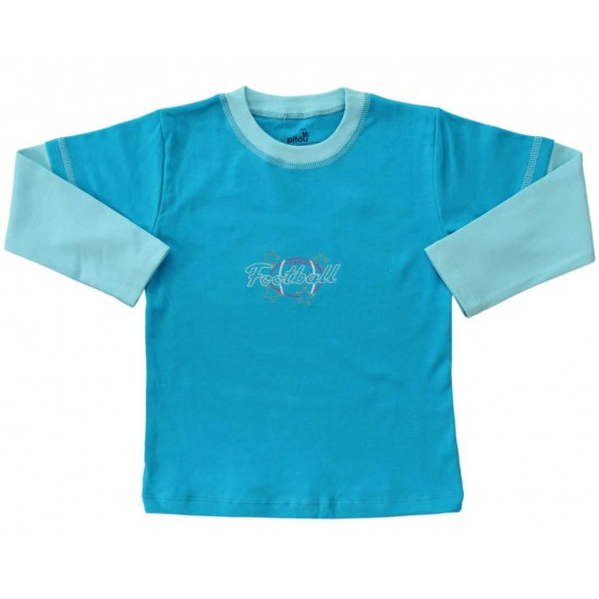 bluza bumbac copii turcoaz football