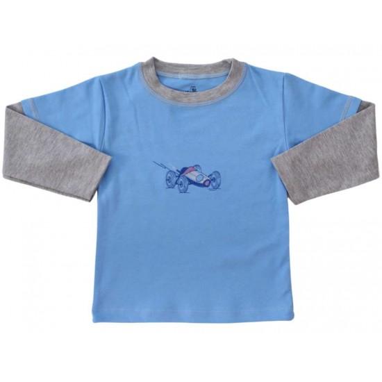 bluza bumbac copii bleu masinuta