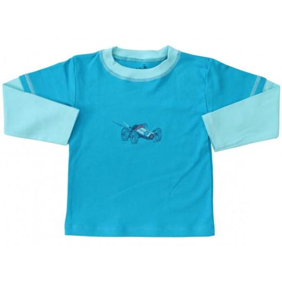 bluza bumbac copii turcoaz masinuta
