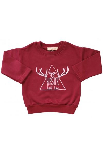 bluza bumbac copii grena hipster