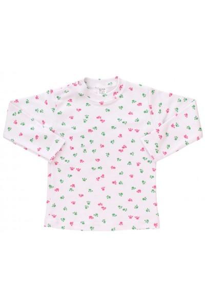 bluza bebe bumbac urme de pasi roz-verde